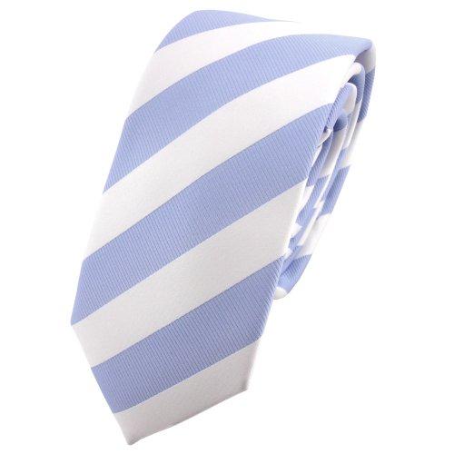 étroit TigerTie cravate bleu claire blanc rayé - Tie