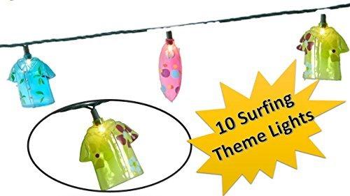 TopNotch Outlet Surfer Lights - String Lights - Fun Surfing Hawaiian Shirt Theme Lights for Your Home Garden Deck or Patio - Tiki Bar Decor - Patio Lights - Tropical - Tropical Surfboard