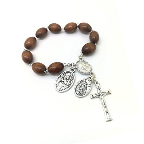 MedjugorjeStoneGifts Catholic Saints Mini Pocket Rosary/St Michael Chaplet/St Christopher Travel Car Gift