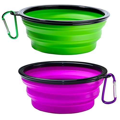 Collapsible Dog Water Bowls Large - 2 Pack Foldable Expandable Cup Dishes for Pet Cat Service Dogs, Portable Travel Bowls for Hiking Camping On The Go Including 2 Carabiner Clips (Green+Purple)