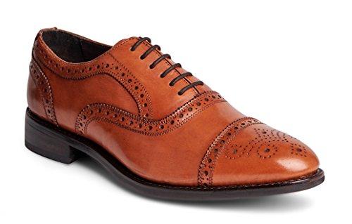 Calfskin Wingtip Shoes - Anthony Veer Men's Ford Wingtip Brogue Lace-up Full Grain Leather Dress Formal Wedding Office Shoes Goodyear Welt (8.5 D(M) US, Walnut Full Grain Calfskin - Rubber Sole)