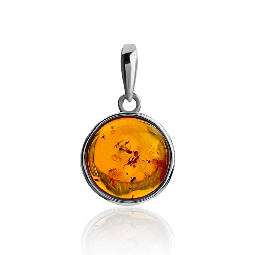 Gopher Jewelry Pendant (Amber Sterling Silver Perfect Round Pendant)