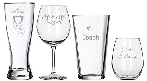 (Make Your Own - Wedding Toasting Glasses - Birthday Gifts - Anniversary Present - Wedding Shower - Sports - Game Day - Football - Birthday - Cheer - Wedding Favors - Bridal Shower)