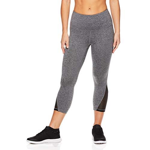 HEAD Women's High Waisted Capri Workout Leggings - Crop Activewear Gym & Running Pants - Partner Charcoal Heather, Medium