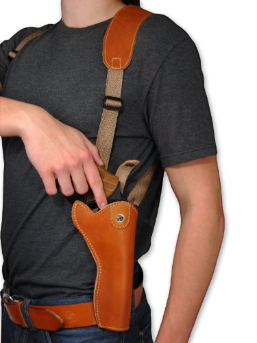 New Barsony Saddle Tan Leather Cross Harness Vertical