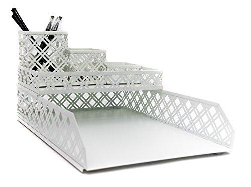 Cheap  Blu Monaco White Desk Organizer - 5 Piece Interlocking Desk Accessories Set..
