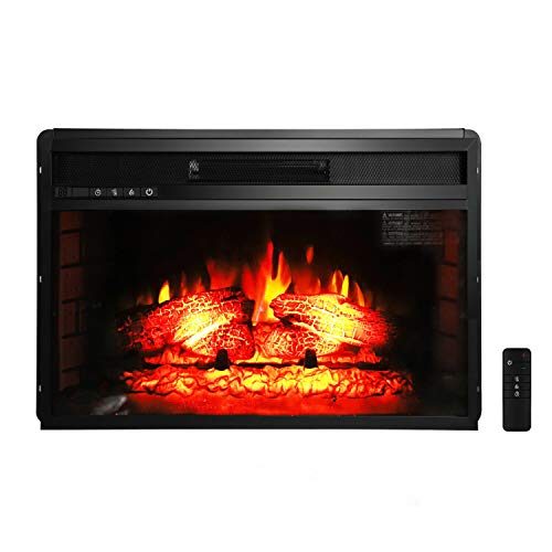 AK Energy 1500W Black Electric Fireplace Embedded Wall Mount Heater Flame with Remote Adjustable 62-82 F AK Energy