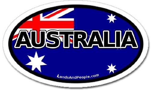 (Australia and Australian Flag Car Bumper Sticker Decal Oval)