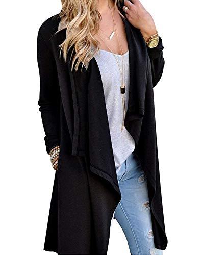 - Little Beauty Casual Long Sleeve High Low Hem Fall Cardigans for Women Black XL