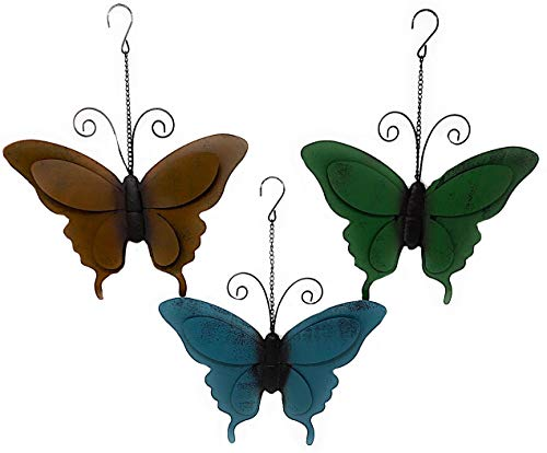 """D.I.D. Small Butterfly Metal Decor Wall Garden Yard Art Sculptures Nature Inspired Colorful Metal Iron for Indoor Outdoor Set of 3 (11"""" x 9"""")"""