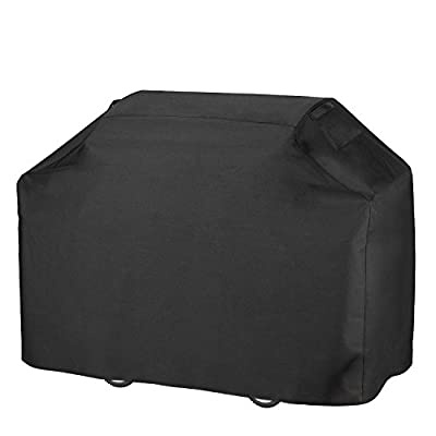 Grill Cover, Heavy Duty 600D Oxford Waterproof Gas Grill Cover with Double Stitching & Heat Sealed Seams 58-inch BBQ Cover for Most Brands of Grill Like Weber, Char Broil Brinkmann etc - Black by Anglink