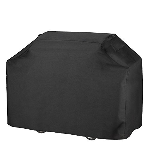 Heavy Duty Rain Cover - Grill Cover, Heavy Duty 600D Oxford Waterproof Gas Grill Cover with Double Stitching and Heat Sealed Seams 58 inches BBQ Cover for Most Brands of Grill like Weber, Char Broil Brinkmann etc - Black