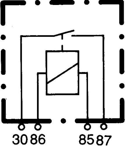 Vers/° fiche-ID: B3 Sch/éma de c/âblage: S1 courant de travail 12V Relais de puissance 4p/ôle HELLA 4RA 003 437-081 Relais noir avec support
