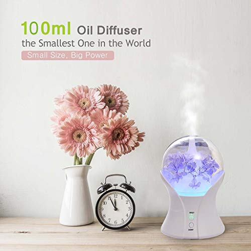 Air Aroma Humidifier Wood Grain Ultrasonic Aroma Diffuser Essential Oil Diffuser Ultrasonic Aromatherapy Essential 100ML Oil Diffuser Perfect for Home Office Use - Whisper-Quiet Design (White) ()