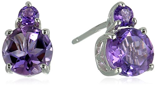 10k White Gold African Amethyst and Amethyst Gemstone Stud Earrings - African White Gold Ring