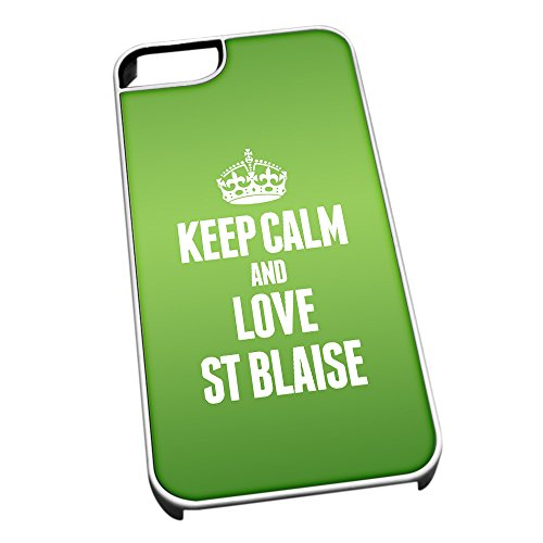 Bianco cover per iPhone 5/5S 0540verde Keep Calm and Love ST Blaise