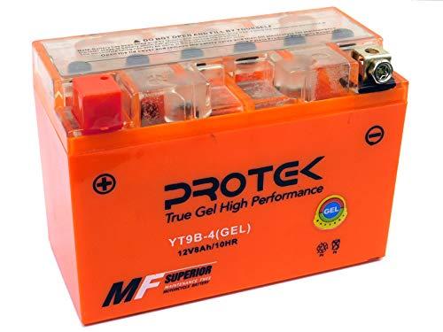 Protek YT9B-BS YT9B-4 12V 8Ah Sealed AGM Gel Type Battery Maintenance Free Factory Activated For 2009-2017 Yamaha Raptor 700 YFM700 YFM700R YFM700RSE, 2001-2009 Yamaha YZF R6, 2006-2009 Yamaha YZF R6S