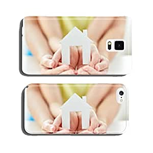 close up of woman and girl hands with paper house cell phone cover case iPhone6