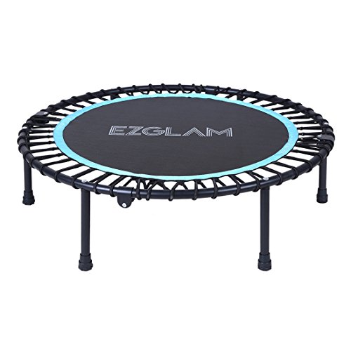 EZ-Glam-Folding-Children-Fitness-Trampoline-invigorates-Quietest-Bounce-for-Mini-Rebounding--Long-Lasting-Premium-Bungees--Top-Rated-for-Quality-and-Durability