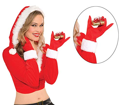 Rubie's Women's Clausplay Santa Fashion Gloves, Red/White, One Size ()