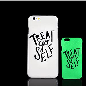 iPhone 7 Case, Treat Yo Self Design letter Epigram Aphorism Motto Pattern Glow in the Dark TomCase Fluorescent Back Cover for iPhone 7 Case 4.7 inch, P10
