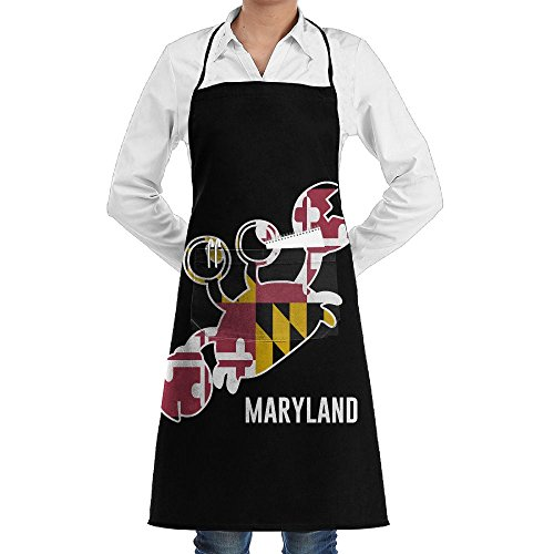 Maryland Flag Crab Black Home Kitchen Apron Chef Cooking Baking BBQ Apron With Pocket For Women Men