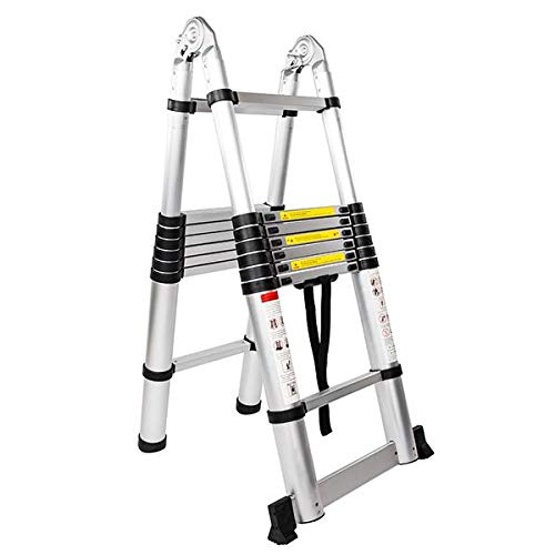 Genetic Los Angeles Aluminum Telescopic Extension Ladder, Extendable Ladder with Spring Loaded Locking Mechanism