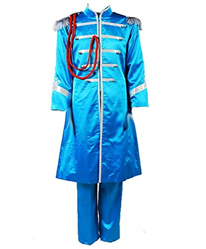 Blue Sgt Pepper Costume (TISEA Adult Mens Band Club Cosplay Costume Halloween Suit (XS, Blue))