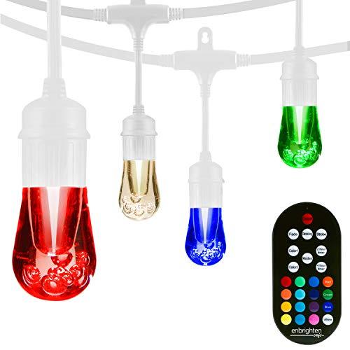Enbrighten 39092 Vintage Seasons LED Warm White & Color Changing Café String Lights, White, 48ft, 24 Premium Impact Resistant Lifetime Bulbs, Wireless, Weatherproof, Indoor/Outdoor, 48 ft