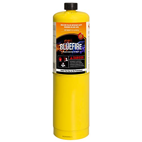 Pack of 2, BLUEFIRE Modern MAPP Gas Cylinder, 16.1 oz, 14% More Bonus Fuel than MAP/PRO, Hotter than Propane! Variation of Quantity Bundles Available (2) by MR. TORCH (Image #2)