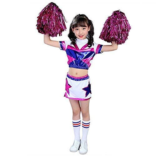 Girls Boys Cheerleader Costume School Child Cheer Costume Outfit Carnival Party Halloween Cosplay with Match Pom poms (110/3-4 Years, -