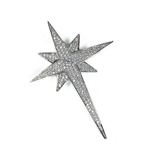DREAMLANDSALES Bling Micro Pave Two Layered Four Pointed Statement Star Brooches Pins