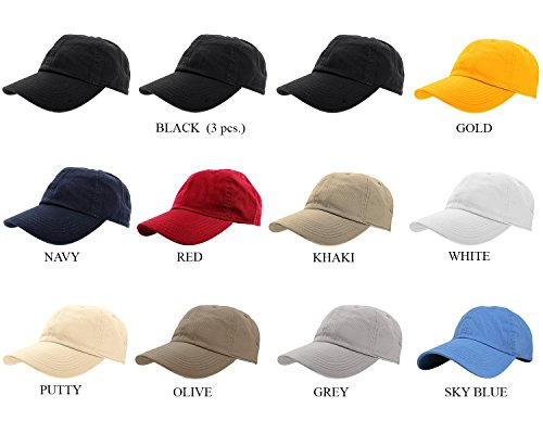 Blank Baseball Caps - Gelante Baseball Caps 100% Cotton Plain Blank Adjustable Size Wholesale Lot 12 Pack (Assorted #1)