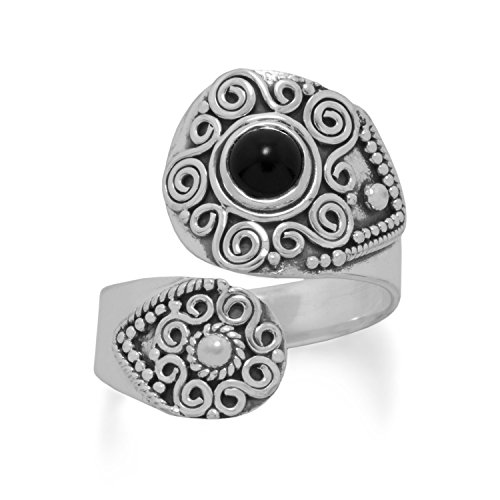 Black Onyx Wrap Spoon Ring with Bead and Scroll Design Sterling Silver, ()