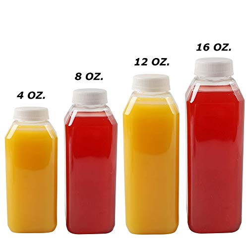 8 Oz Plastic Juice Bottles, 10 Pack Food Grade BPA Free Empty Square Milk Containers, Great For Storing Homemade Juices, Milk, Beverages, With Tamper Evident Caps. ()