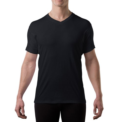Sweatproof Undershirt for Men with Underarm Sweat Pads (Original Fit, V-Neck) Black