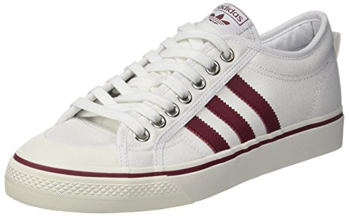 adidas Unisex-Erwachsene Nizza Sneaker Weiß (Footwear White/Collegiate Burgundy000)