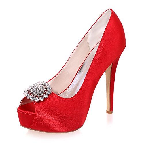 Qingchunhuangtang@ Bouche de poisson Satin talons hauts chaussures de mariage banquet modèle prom plate-forme de marche chaussures chaussures de mode charme parti Le rouge kTS8L2zmZS