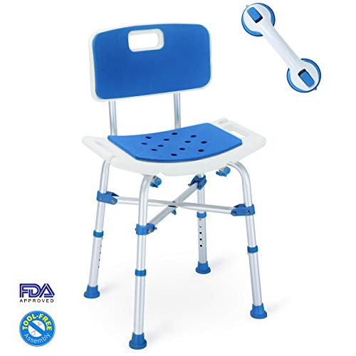 2019 Upgraded 500lbs Shower Chair Bath Seat Bench, Tool-Free Assembly Height Adjustable Heavy Duty Bath Chair w/EVA Paded Seat and Assist Grab Bar for Seniors, Elderly, Disabled, Handicap, and Injured (Best Nursing Chair 2019)