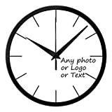Cheap Leecum Customized Products-Add Your Design in the Wall Clock Silent Metal Non-Ticking 10 Inch or 12 Inch or 14 Inch White Black Silver  Decorations for Office Kitchen Living Room Bedroom