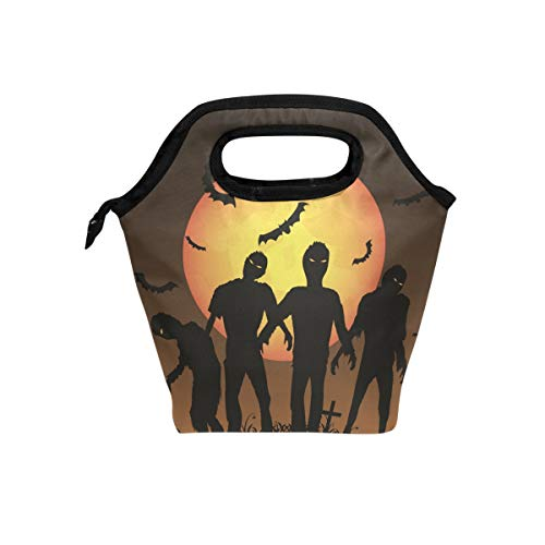 (HEOEH Zombie Trick Or Treat Lunch Bag Cooler Tote Bag Insulated Zipper Lunch Boxes Handbag for Outdoors School)