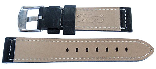 Fluco Snow Calf 22mm Black Leather Watch Strap by Fluco