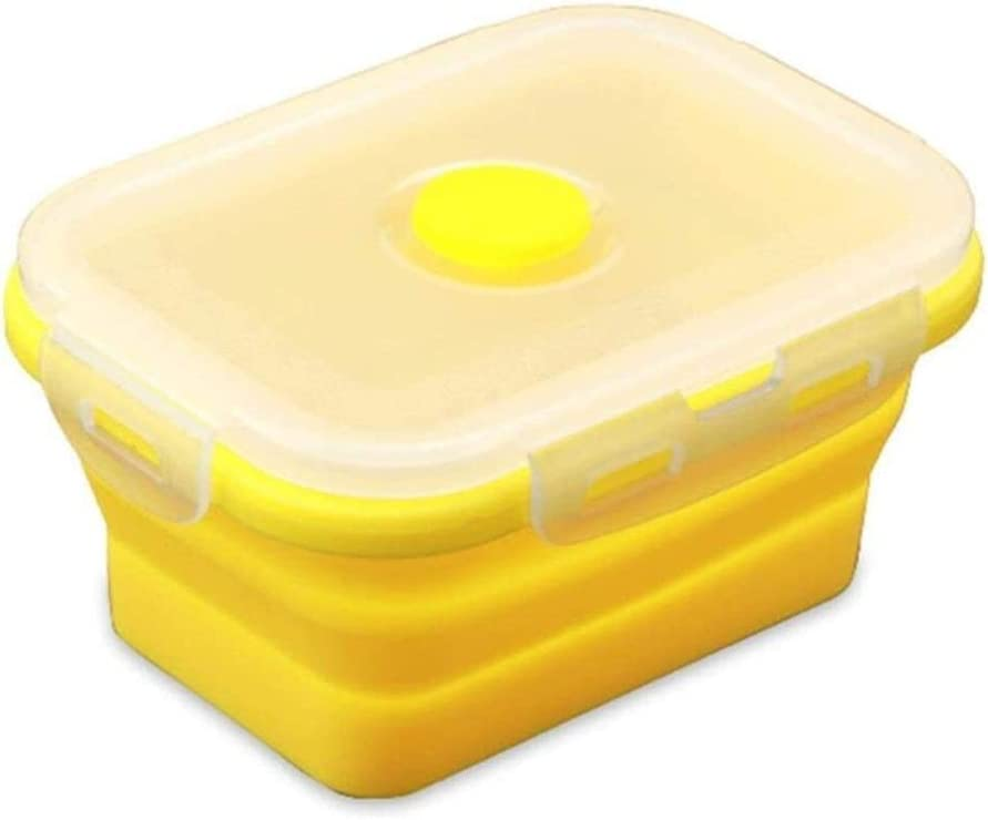 Reusable Lunch Box,Food Storage Container Microwavable Portable Picnic Camping Rectangle Outdoor Bento Box Silicone Collapsible 0914 (Color : Yellow Lunch Box, Size : 500ml)
