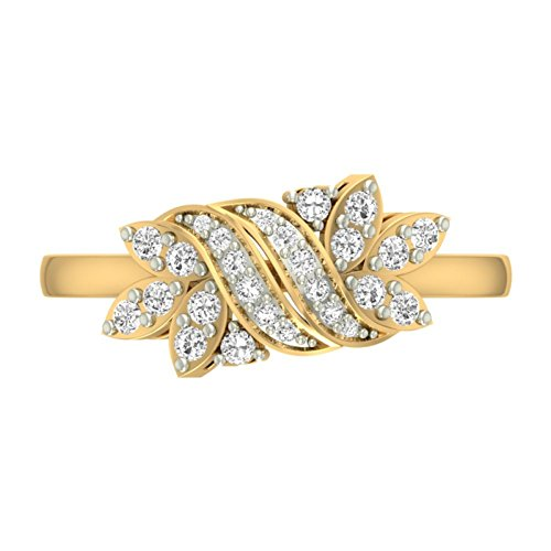 14 K Or jaune 0,33 CT TW Round-cut-diamond (IJ | SI) en diamant