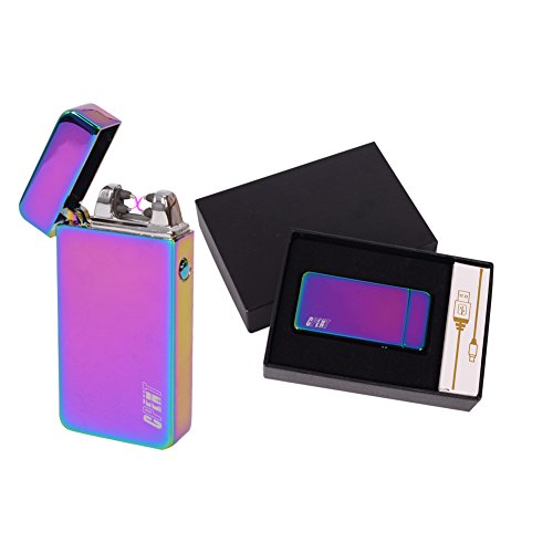 eable Flameless Lighter, Double Arc Tactical Cigar Lighter, Electronic Windproof Cigarette Lighter, No Gas Arc Lighter Colorful Rainbow Ice By CPENT (Rechargeable Electronic Cigarette Kit)