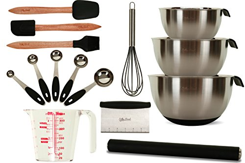 15-Piece Commercial Professional Baking Set | Stainless Steel & Silicone Bakeware | 3 Mixing Bowls | Rolling Pin | Measuring Cup + 5 Spoons | Basting Brush | Whisk | Spatula | Scraper | Dough Cutter by Silky Road