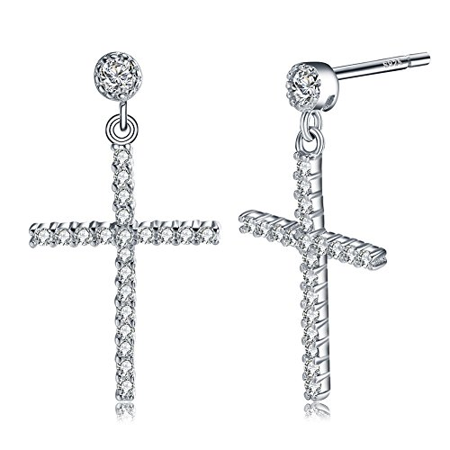 (uPrimor 925 Stering Silver CZ Stone Vintage Cross Stud Earrings Set With 44 Pieces AAA Cubic Zirconia, 25mm Length)