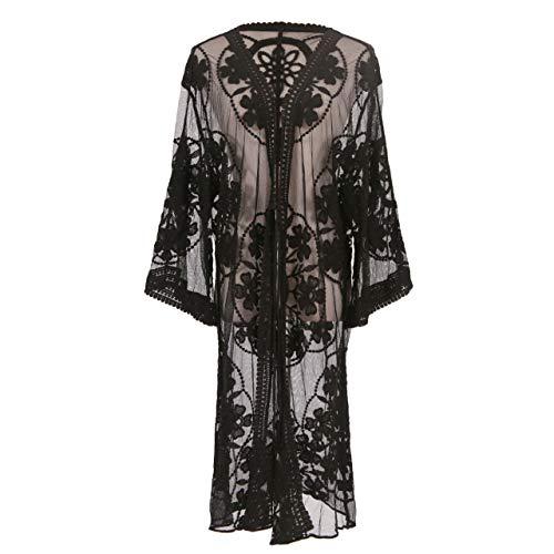 MissShorthair Womens Lace Crochet Cardigan Open Front Kimono Cover Ups (17black, X-Large)