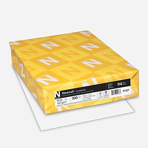 "Neenah Cardstock, 8.5"" x 11"", 90 lb/163 gsm, White, 94 Brightness, 300 Sheets (91437)"