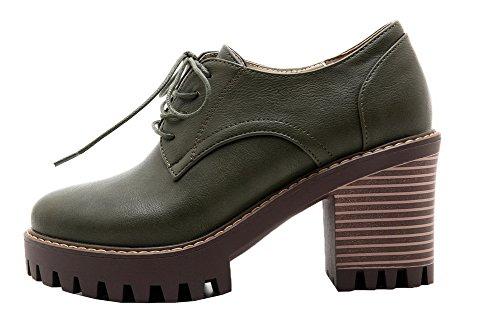 Allhqfashion Donna Solido Tacco Alto Tacco A Punta Chiusa Stringate-scarpe Verde Militare